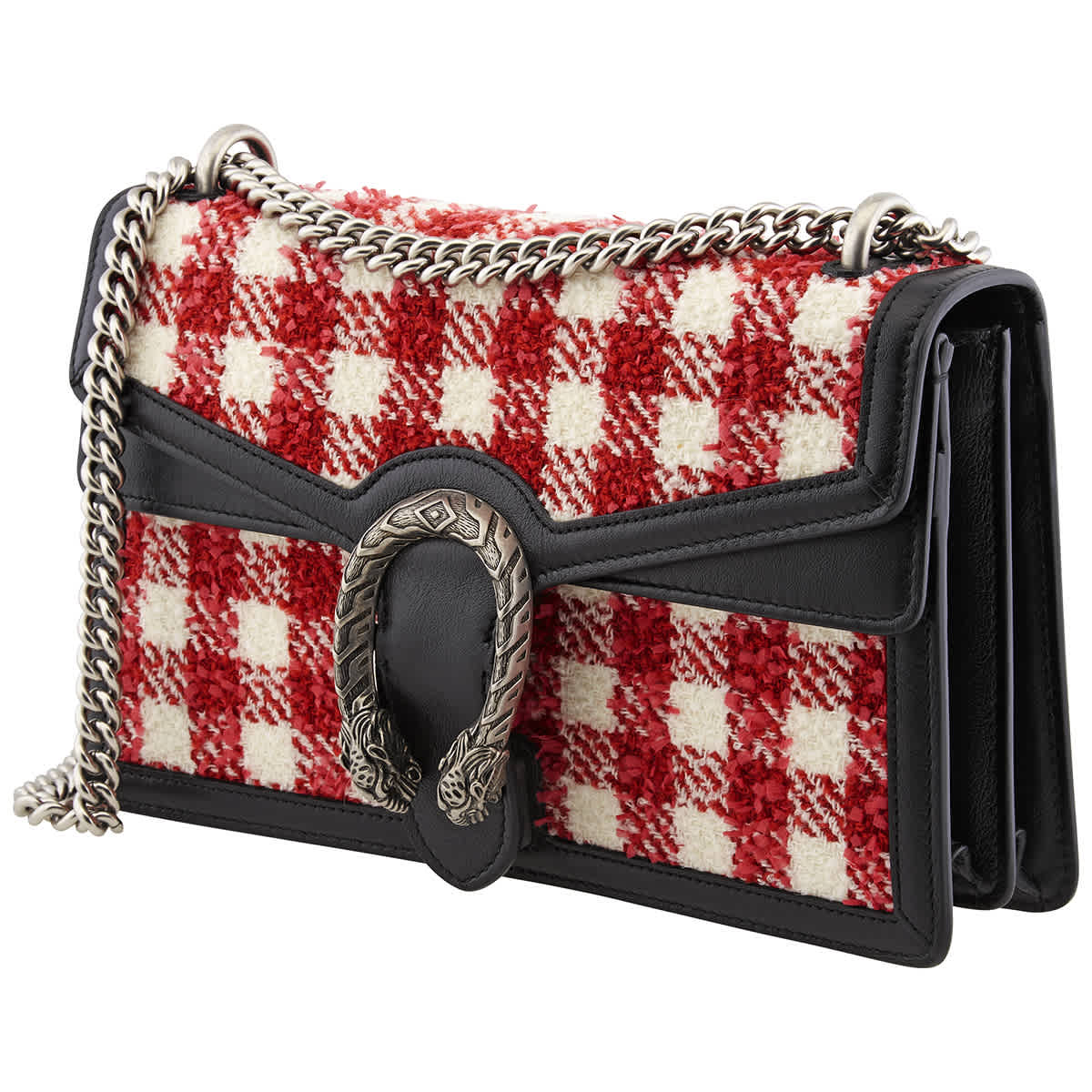 Gucci Red White Vichy Check Dionysus Small Tweed Shoulder Bag | ModeSens