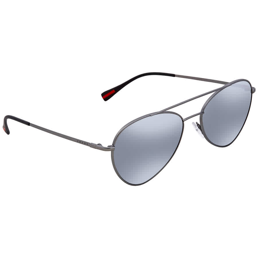 6415356654d47 Prada Linea Rossa Light Grey Mirror Black Aviator Men s 57mm Sunglasses PS  50SS 7CQ5L0 57
