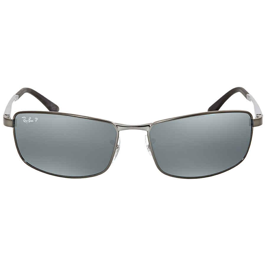 18621c7156 Ray Ban Polarized Silver Flash Rectangular Men s Sunglasses RB34980 29Y4 61