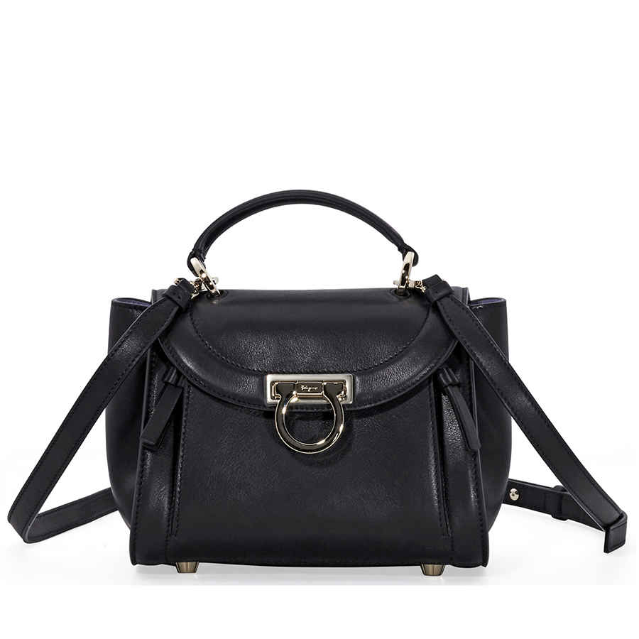 ab0df936d20a2 Salvatore Ferragamo Sofia Rainbow Leather Crossbody Bag- Black ...