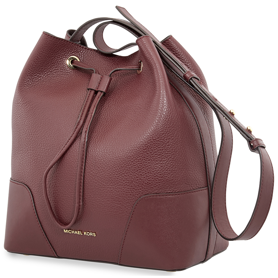 0b4ff8eb0678 Michael Kors Pebbled Leather Bucket Bag- Oxblood 30F8G0CM2T-610