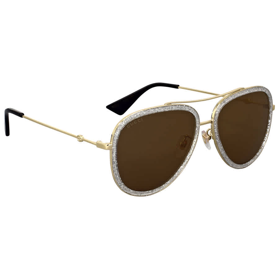 acf86740983 Gucci Gold Glitter Aviator Sunglasses GG0062S 004 57 889652051307