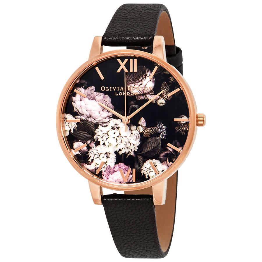 9c4590074be Olivia Burton Signature Florals Black Dial Ladies Watch OB15WG12 ...