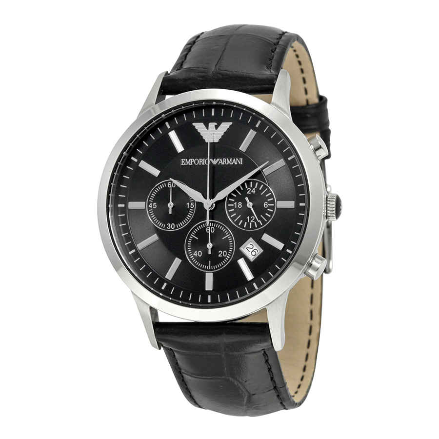 9bc46e7218bc Image is loading Emporio-Armani-Chronograph-Black-Dial-Men-039-s-
