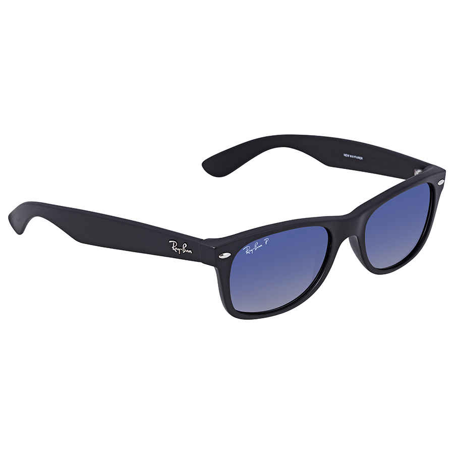 Ray-Ban New Wayfarer Classic Polarized Blue Grey Black Nylon Sunglasses  RB2132 601S78 52-18