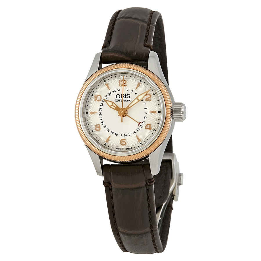 fc922f05fb7 Oris Big Crown Pointer Date Automatic Silver Dial Dark Brown Leather Ladies