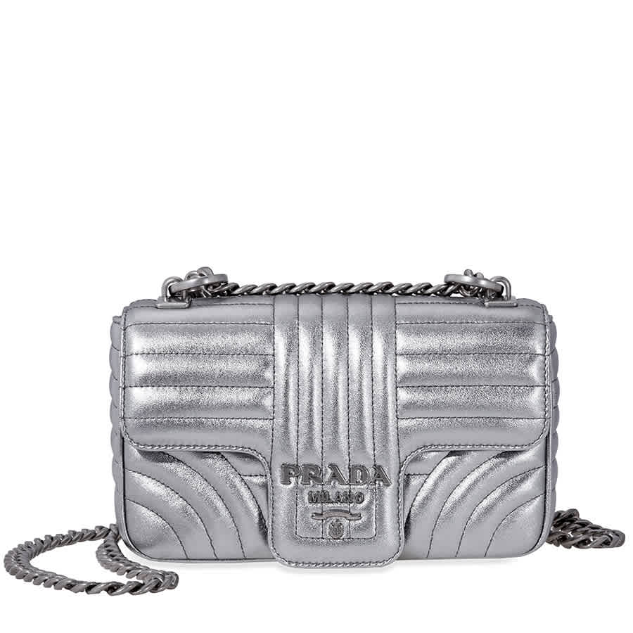 Prada Diagramme Leather Shoulder Bag-Silver 8050533295468  54d96fbc2539d