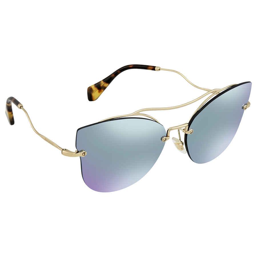 9b85885ab14 Miu Miu Blue Mirror White Cat Eye Ladies Sunglasses MU 52SS ZVN5Q0 ...