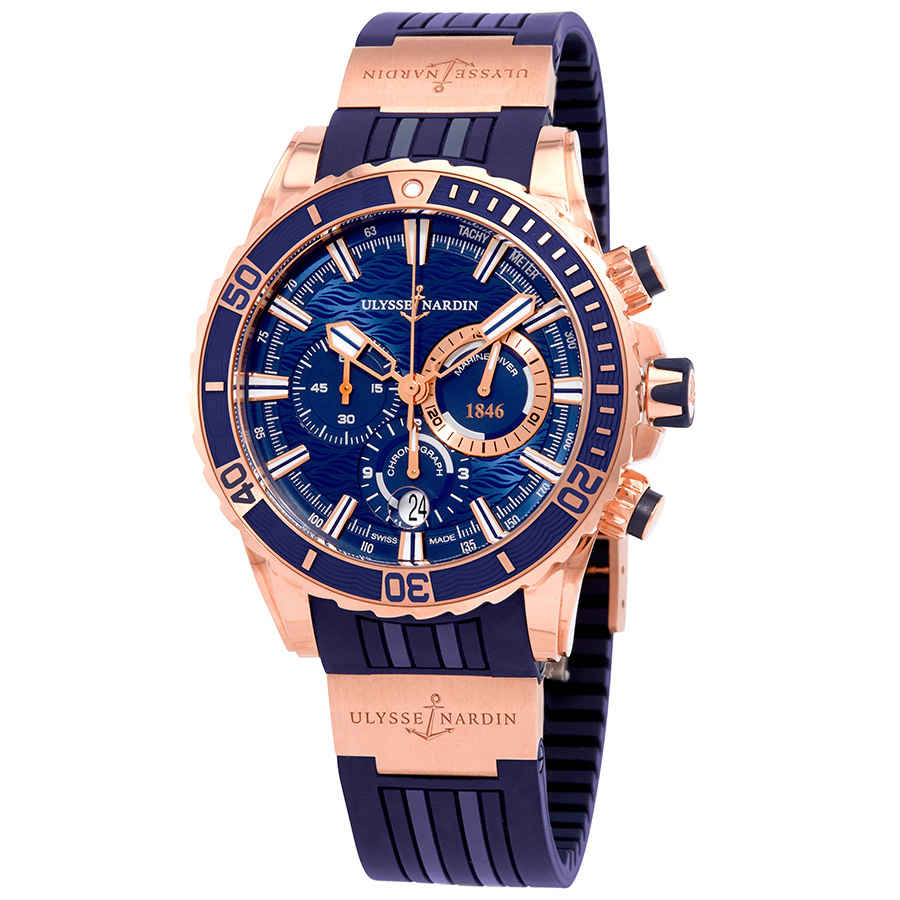 Ulysse Nardin Diver Blue Dial Automatic Men S Chronograph 18k Rose