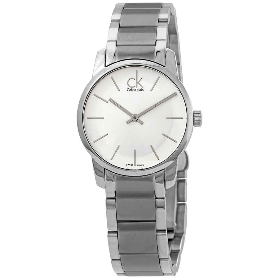 6b53680c0 Calvin Klein City Silver Dial Stainless Steel Ladies Watch K2G23126 ...