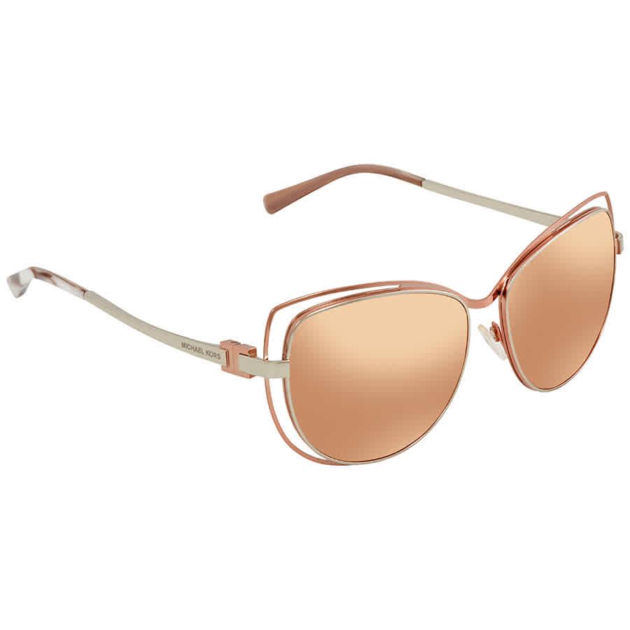 Michael Kors Audrina Rose Gold Flash Cat Eye Ladies Sunglasses MK1013-1121R1 -58 8c4778ad26