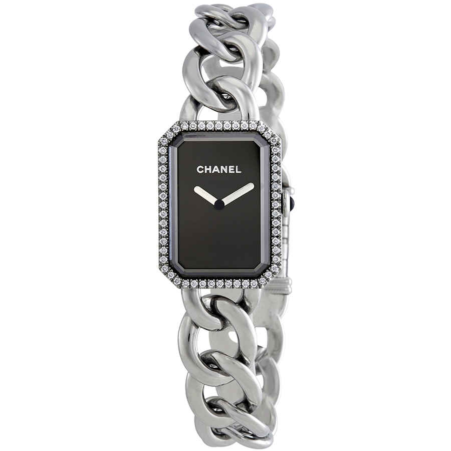 Details About Chanel Premiere Black Dial Stainless Steel Diamond Ladies Watch H3254