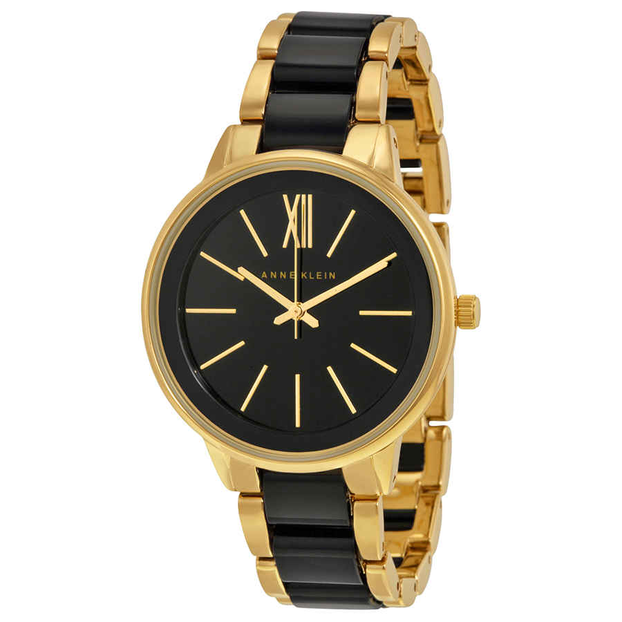 73ff9e861d5 Anne Klein Black Dial Gold-tone and Black Resin Ladies Watch 1412BKGB