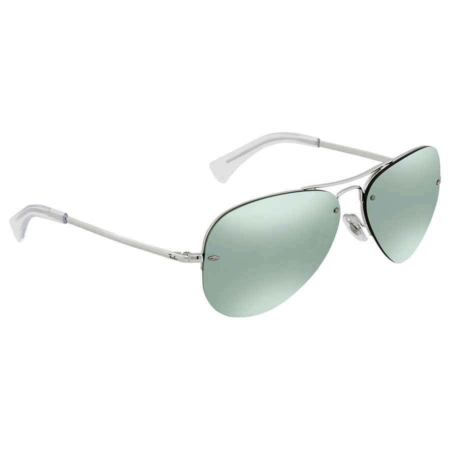 d1165c19dc Ray Ban Dark Green Silver Mirror Aviator Sunglasses RB3449 904330 59 ...