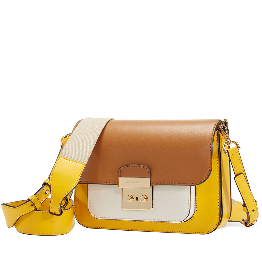 Details zu Michael Kors Sloan Editor Color Block Leather Shoulder Bag Yellow Multi