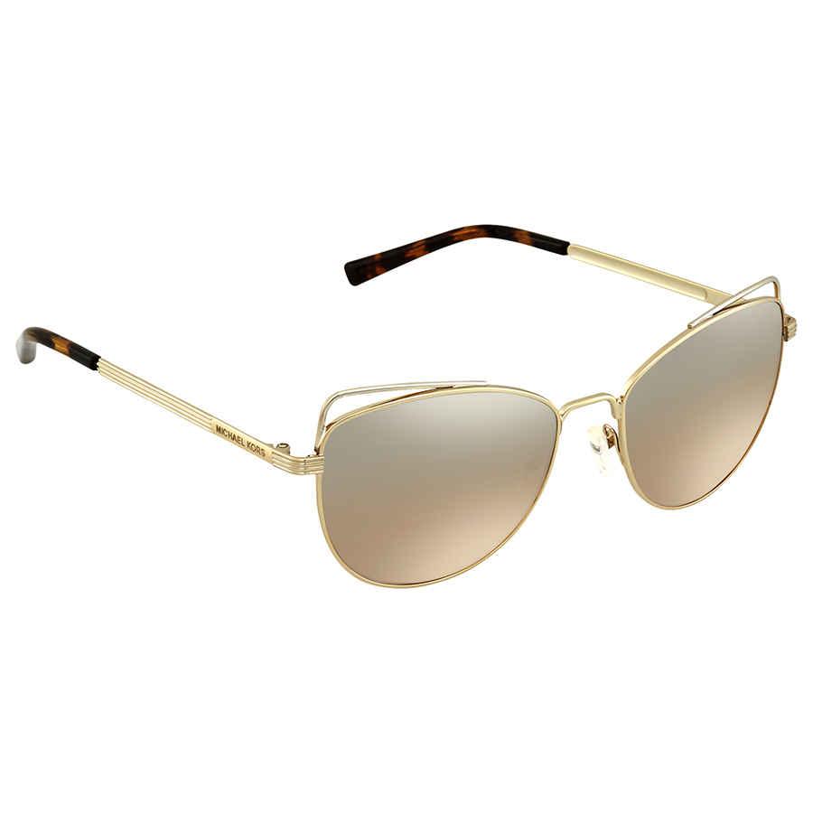 0131b3db30 Michael Kors St. Lucia Silver Khaki Flash Cat Eye Ladies Sunglasses MK1035  12128Z 55