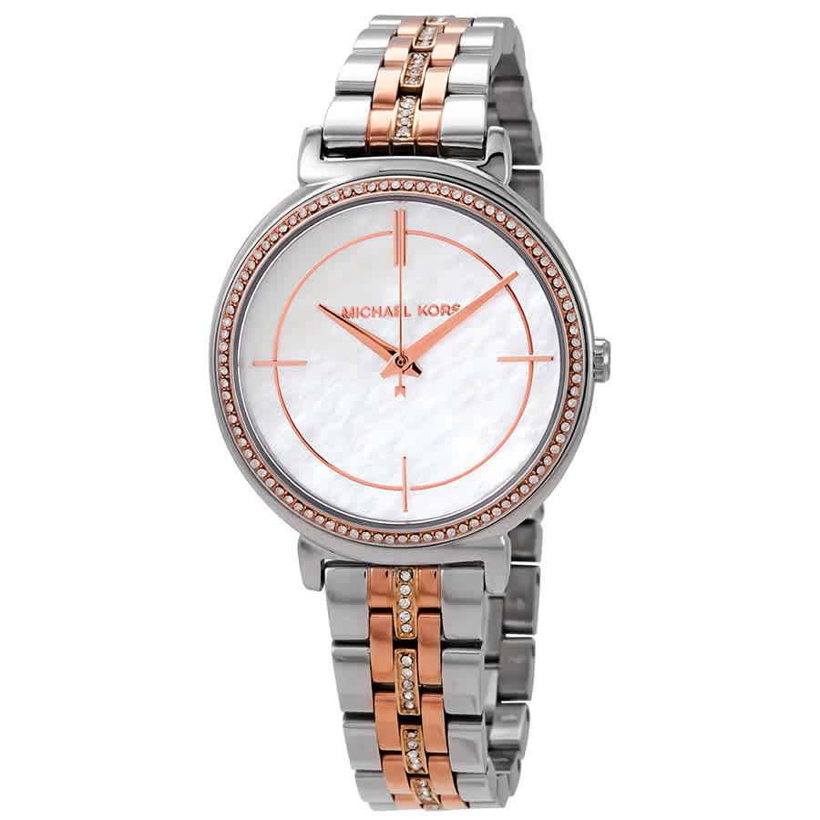 6aa23d2bb655 Michael Kors Cinthia Crystal Mother of Pearl Dial Ladies Watch MK3927