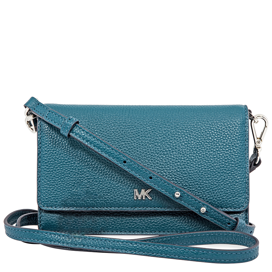 96ce8330d7a1 Micheal Kors Pebbled Leather Convertible Crossbody- Teal 32T8SF5C1L ...