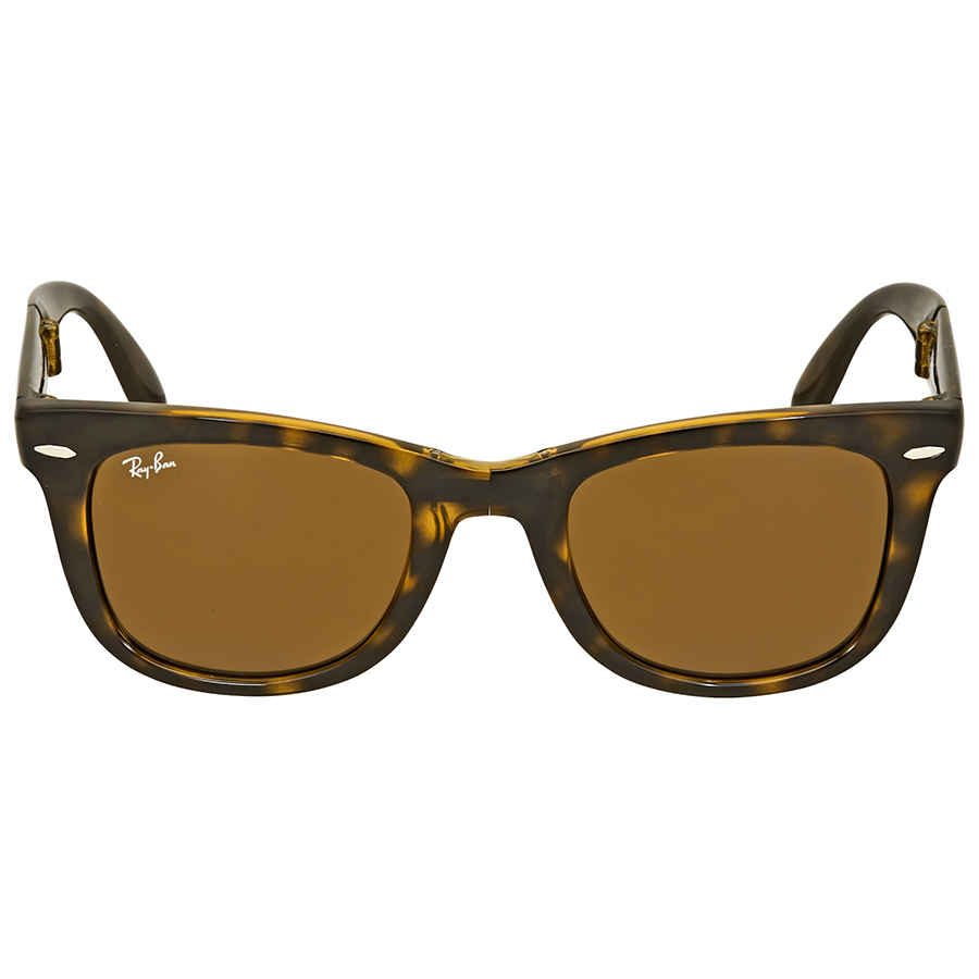 398ff17f0 Rayban Folding Wayfarer Light Havana Tortoise Resin Sunglasses RB4105-50-710