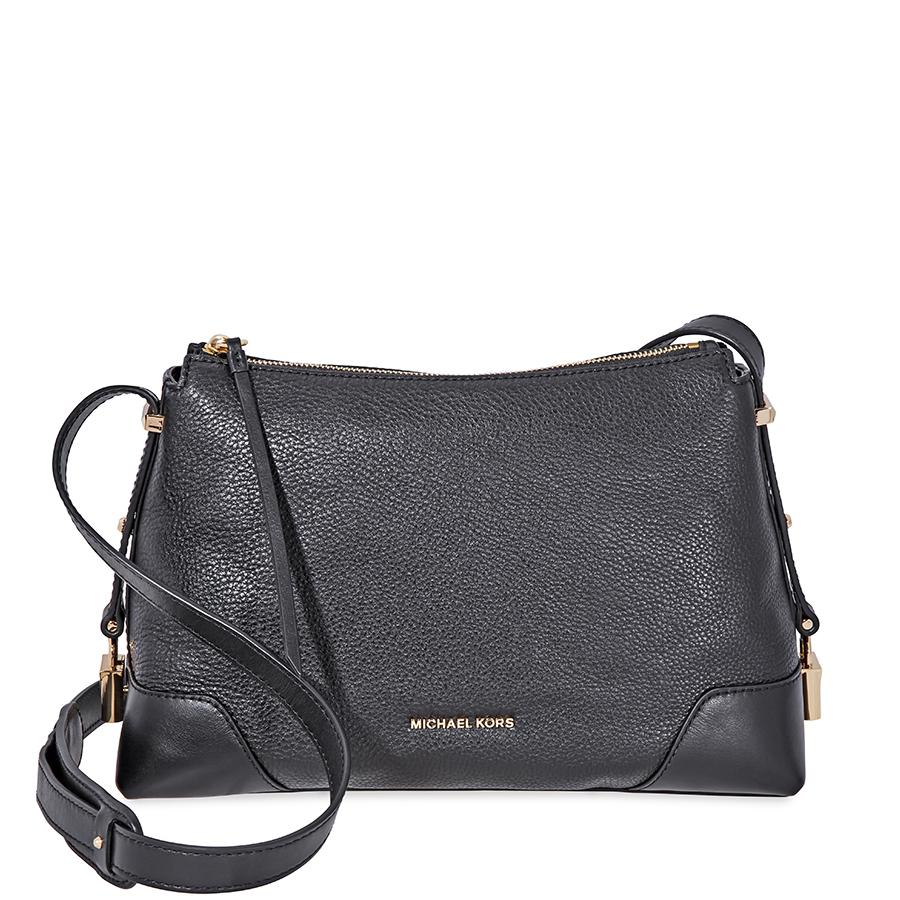 Details about Michael Kors Crosby Medium Pebbled Leather Messenger Bag Black 30H8GCBM2L 001