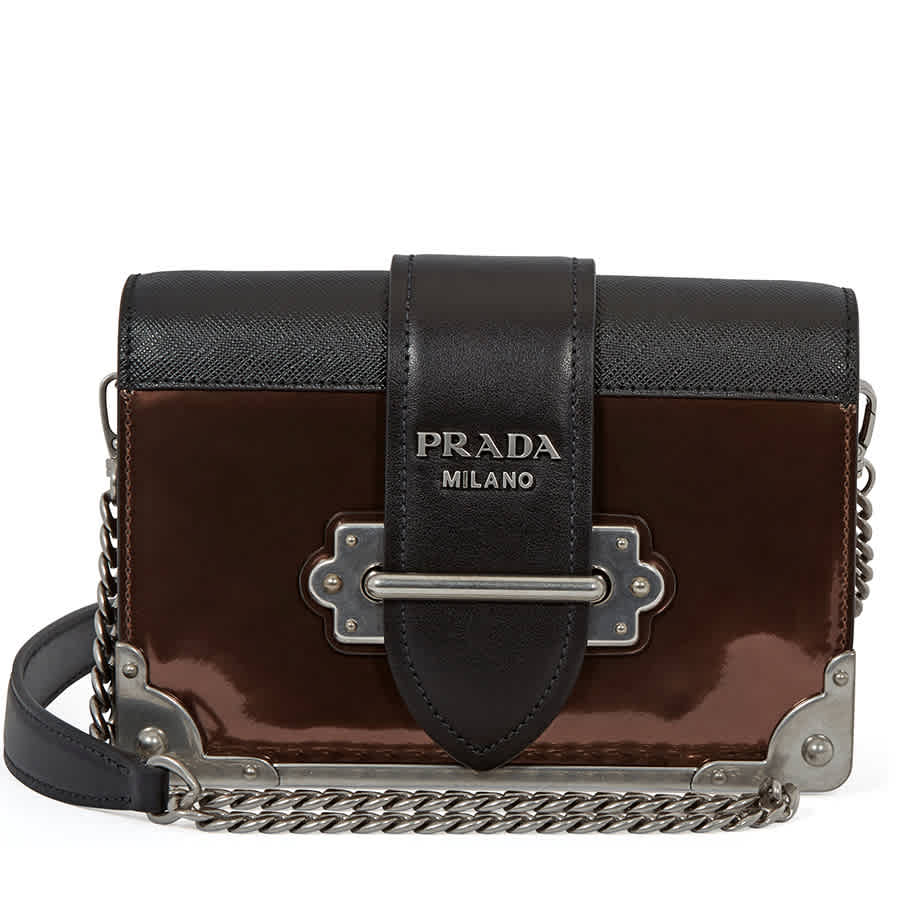 9e5456a6b3b5 Prada Cahier Leather Crossbody Bag- Black Brown ...