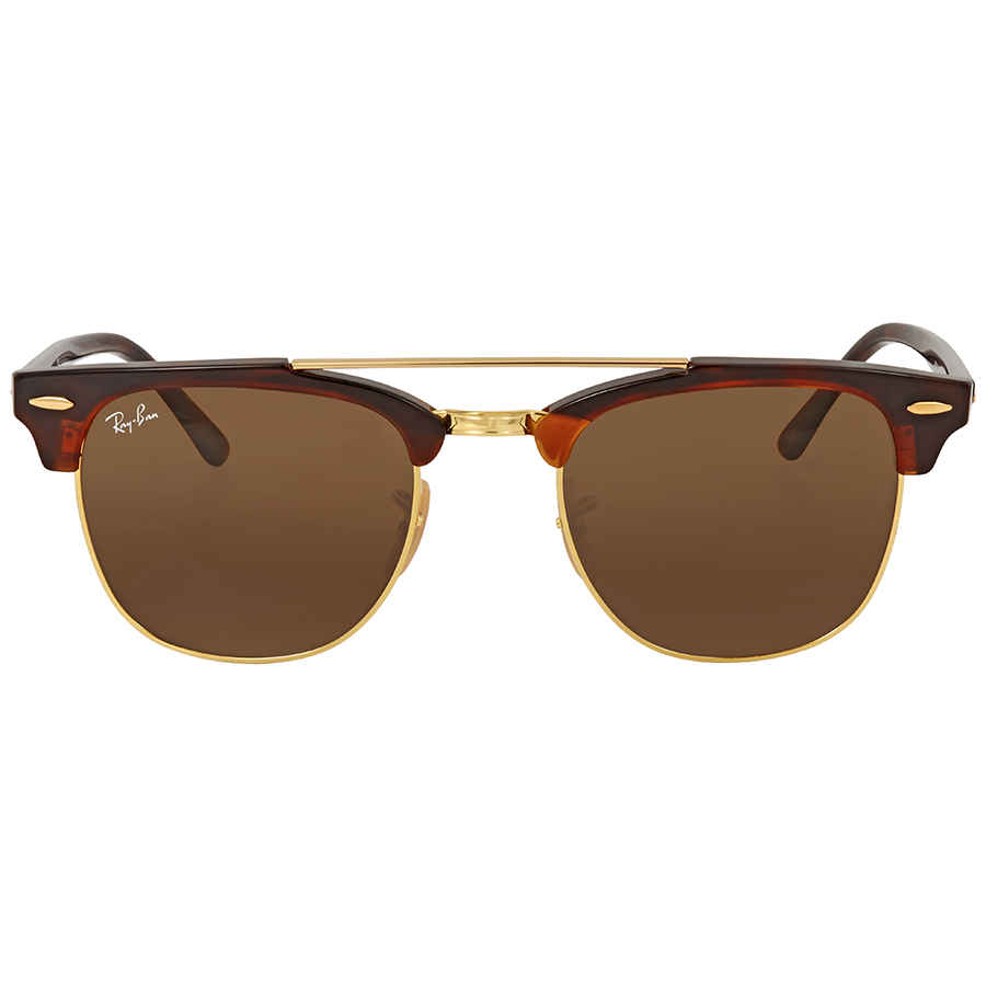 b5944f794cd Ray Ban Clubmaster Doublebridge Brown Square Sunglasses RB3816 990 33 51