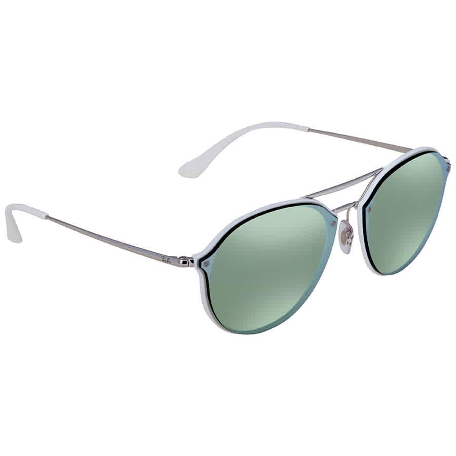 a97cd3dd65 Ray Ban Blaze Double Bridge Dark Green Silver Mirror Round Men s Sunglasses  RB4292N 671 30 62