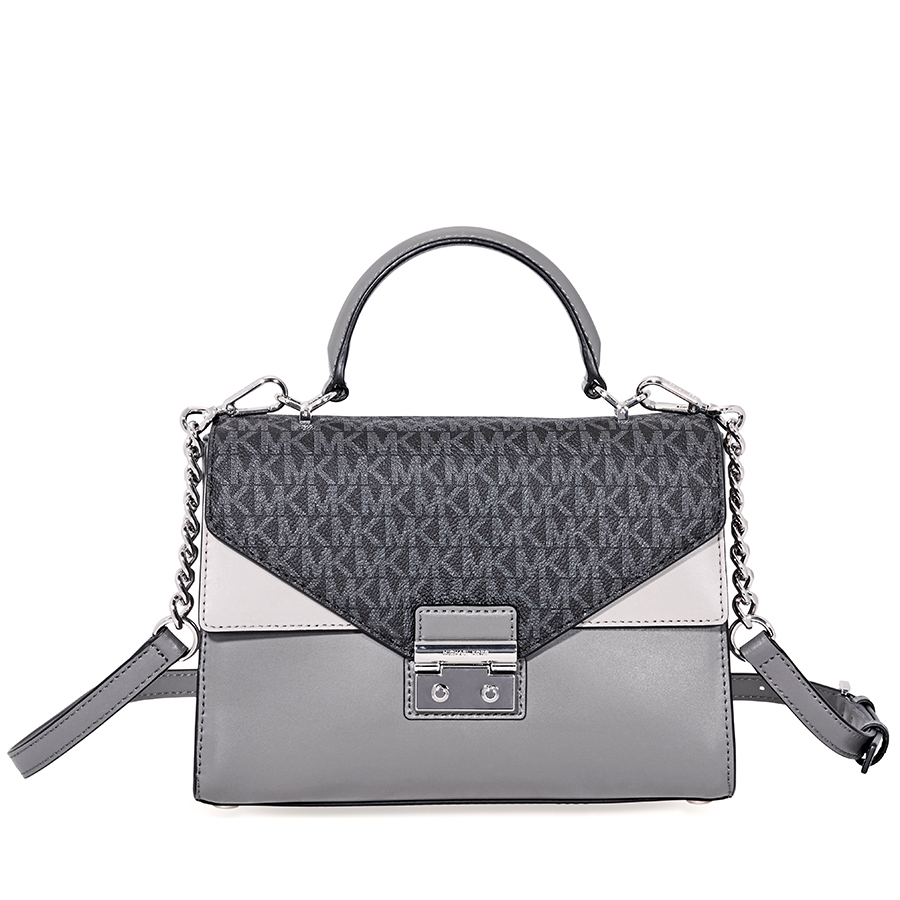 michael kors sloan king leather medium satchel grey 30f8ssls2v rh ebay com au