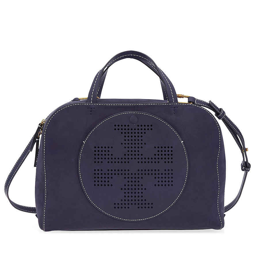 d796d51bc90 Tory Burch Perforated-Logo Suede Satchel- Tory Navy 41472-405 ...