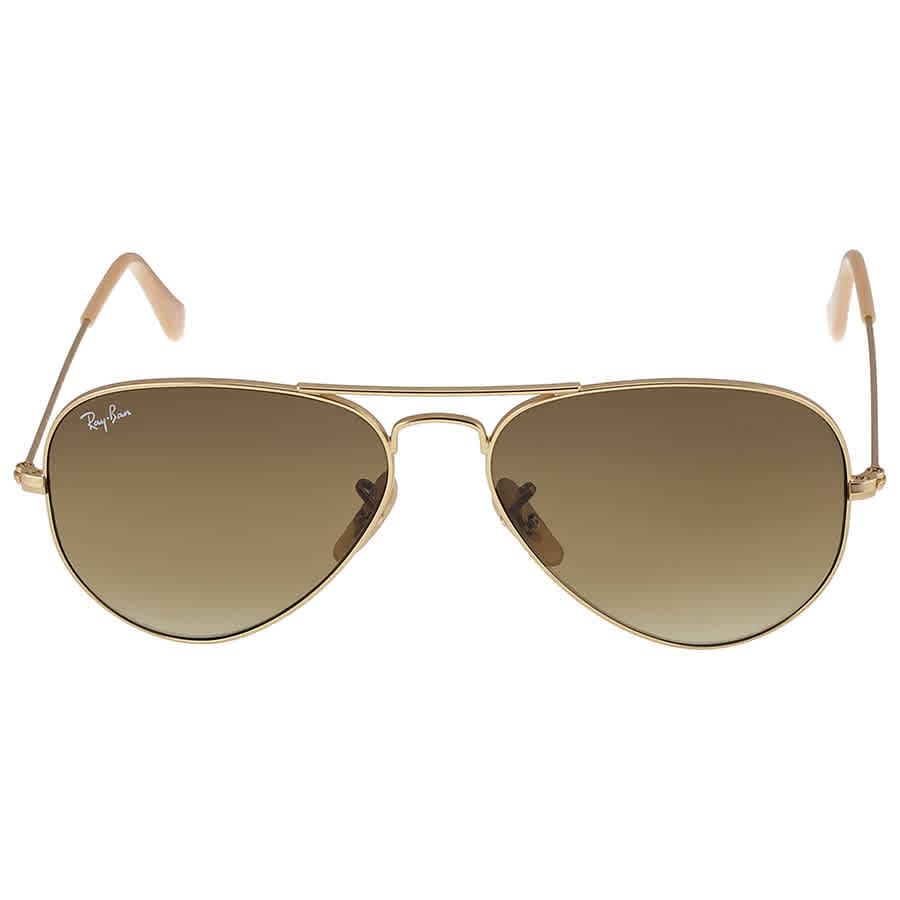 87cfa3f603 Ray Ban Original Aviator Matte Gold Brown Gradient Sunglasses RB3025 -11285-55