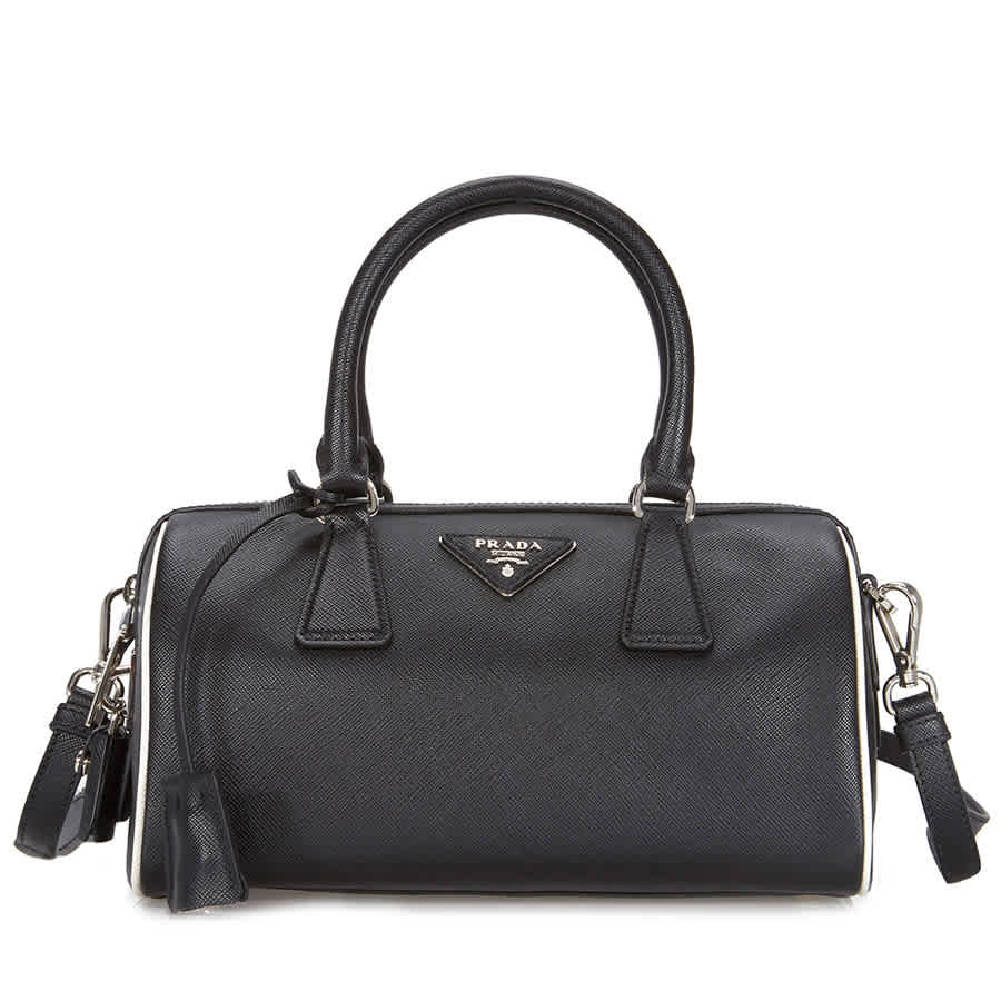 Prada 2-Way Lux Saffiano Leather Shoulder Bag - Black   Talc 1BB845 ... 53df702811306