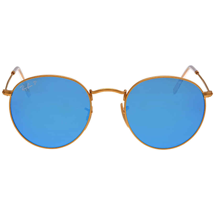e3dd995a34 Ray-Ban Round Polarized Blue Flash Sunglasses RB3447-112-4L-50-21 ...