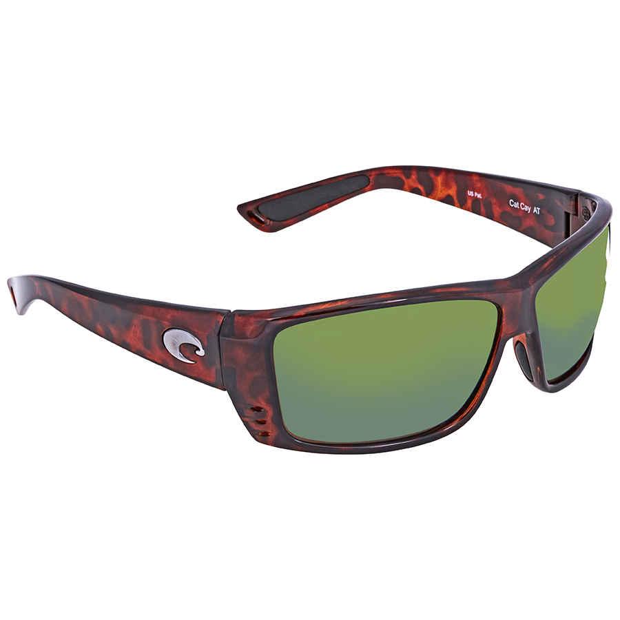 987a87c95a9 Costa Del Mar Cat Cay Green Mirror 580P Rectangular Sunglasses AT 10 OGMP