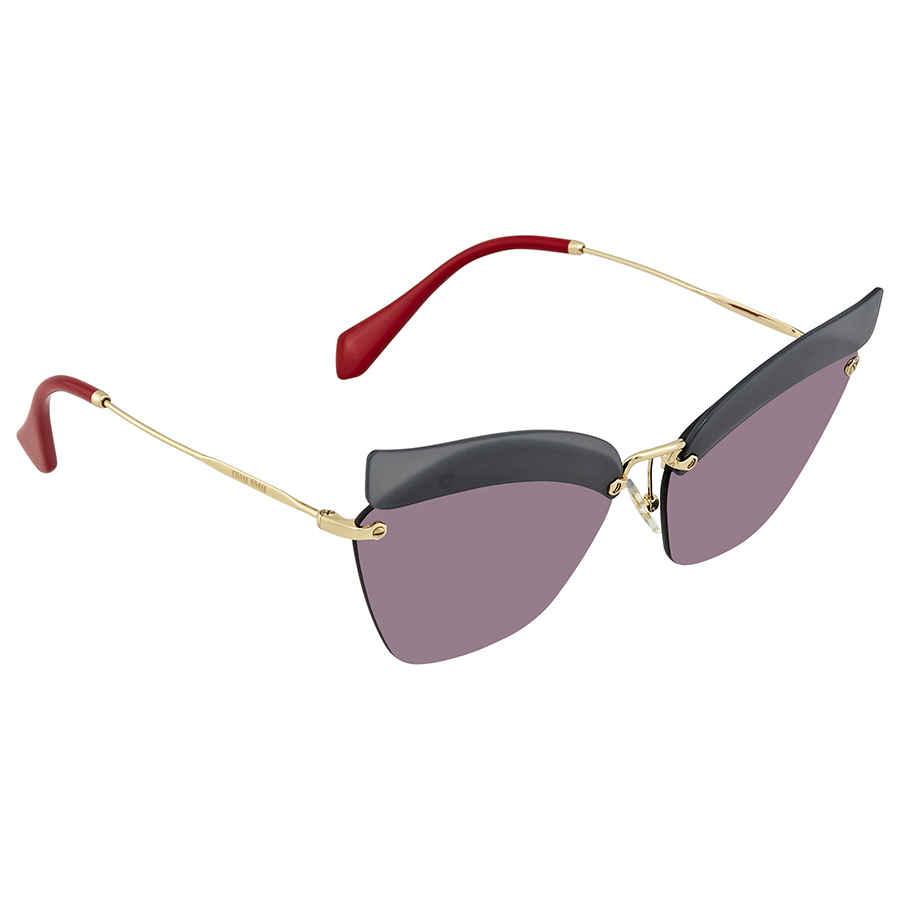 221d18842742 Miu Miu Dark Grey Mirror Pink Cat Eye Ladies Sunglasses MU 56TS I18147 63