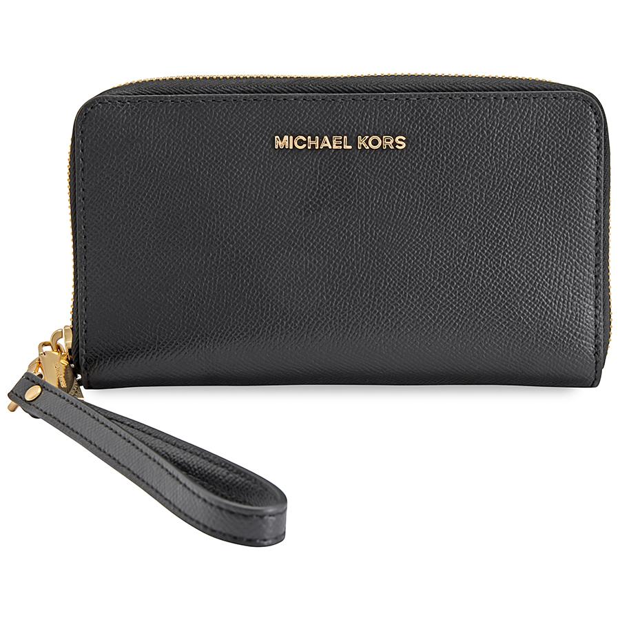 Details about Michael Kors Jet Set Travel Large Smartphone Wristlet Black 32H4GTVE9L 001