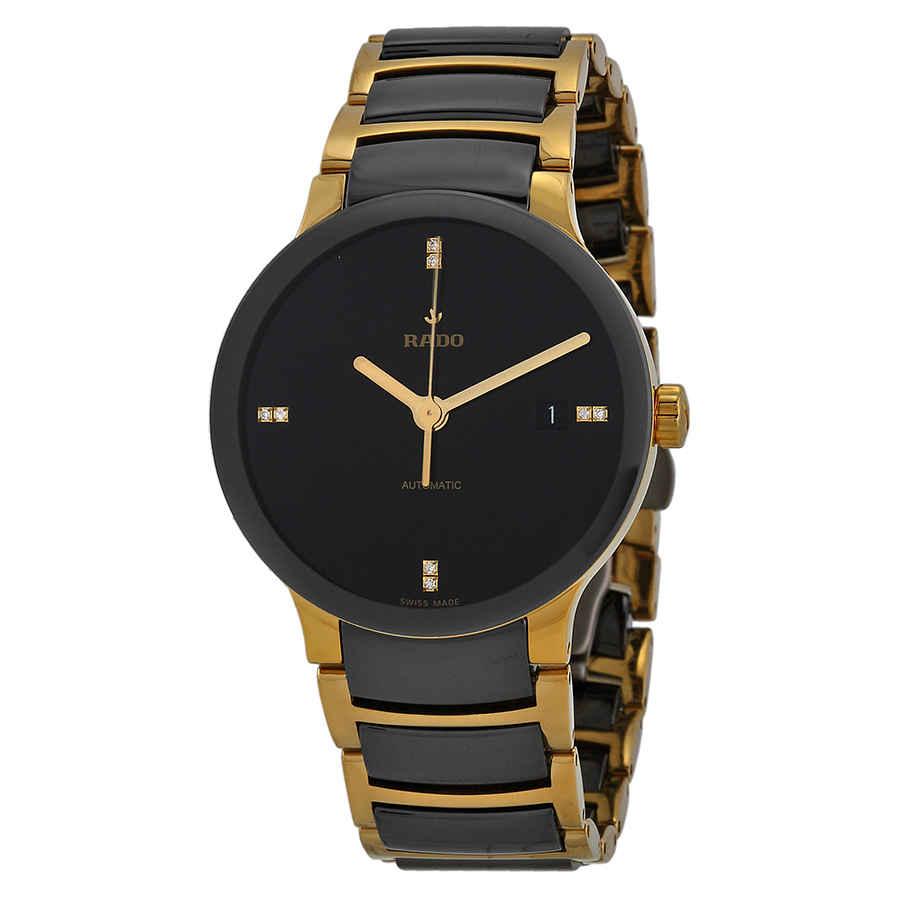 b64670d85f0 Rado Centrix Black Dial Gold-plated and Black Ceramic Men s Watch R30035712