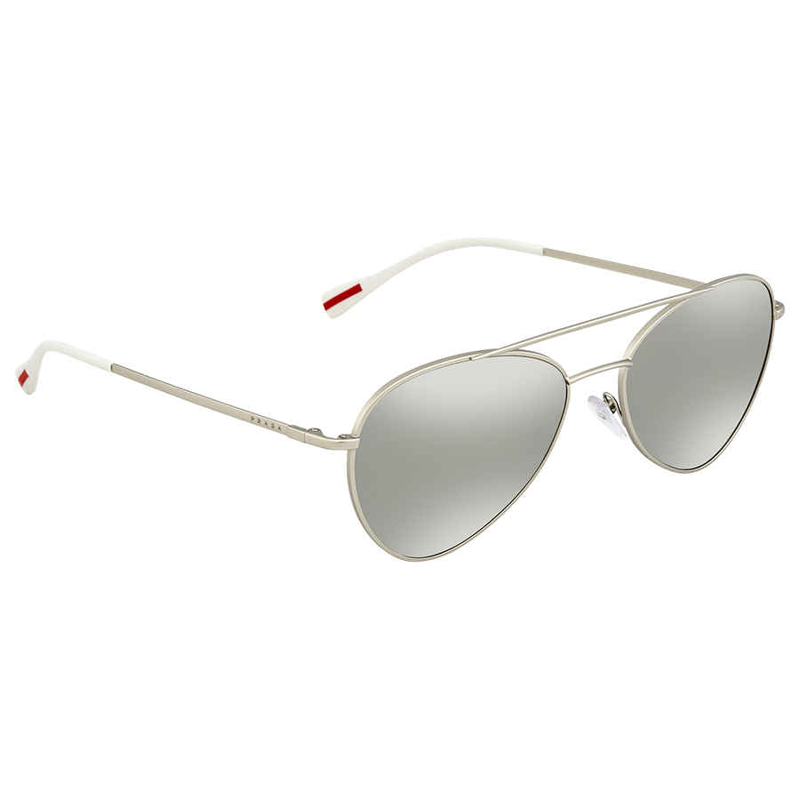 9a6bbbb1f404 Prada Linea Rossa Light Grey Mirror Silver Aviator Men s Sunglasses PS 50SS  1AP2B0 57