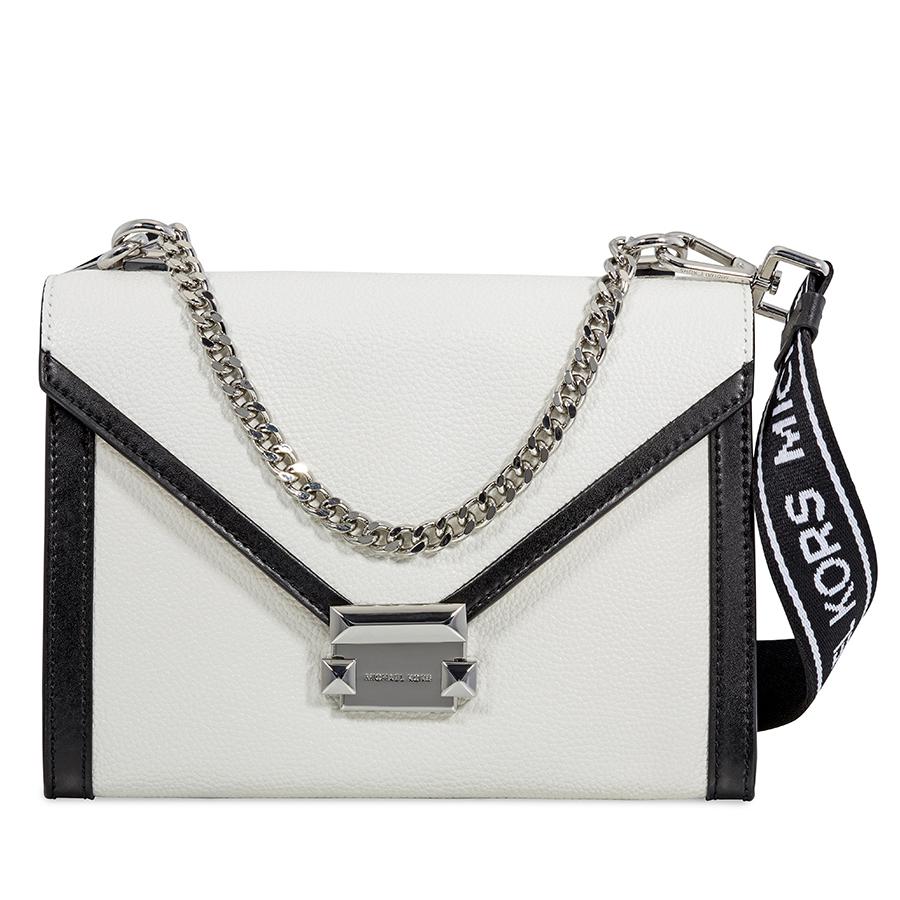 c02c502e100d2b Michael Kors Whitney Large Pebbled Leather Shoulder Bag - White/Black