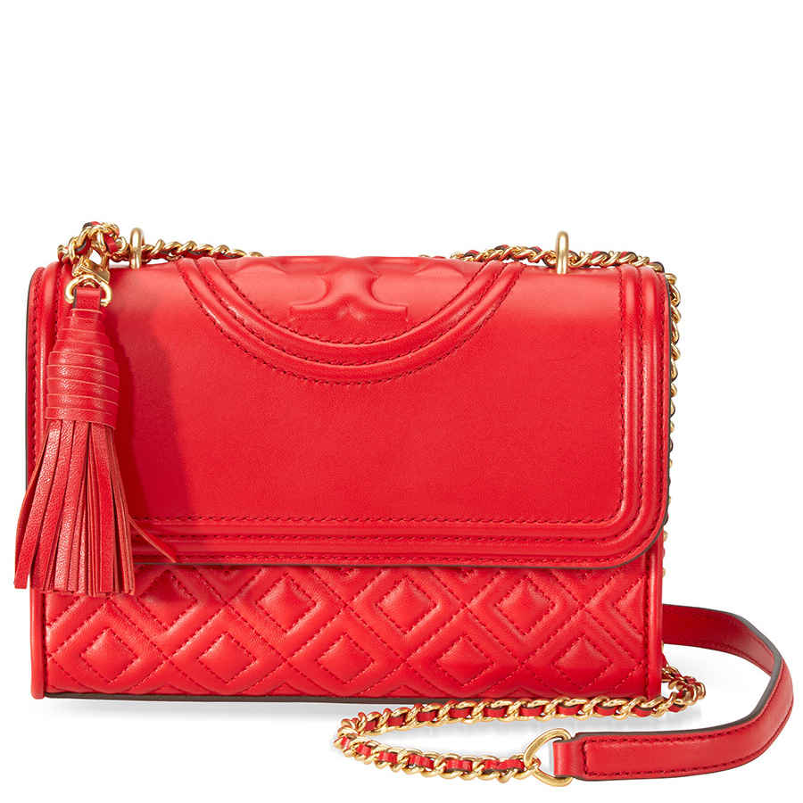 1bce2c23809 Tory Burch Fleming Small Convertible Leather Shoulder Bag- Red 43834 ...