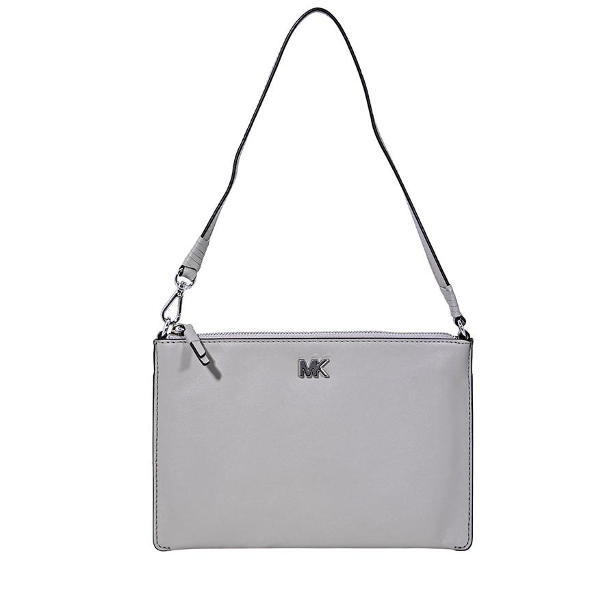 372579654bb2 Michael Kors Medium Convertible Leather Pouch- Pearl Grey 32F8SF9U2L ...