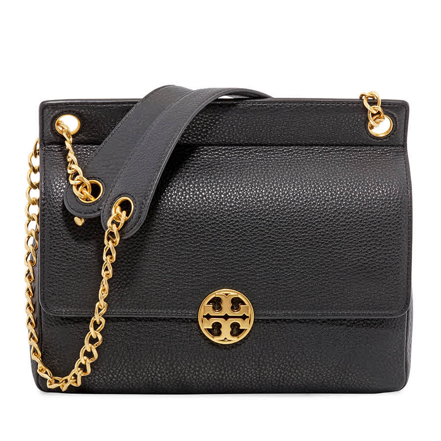 b06623b4622b Tory Burch Chelsea Flap Pebbled Leather Shoulder Bag- Black 48730 ...