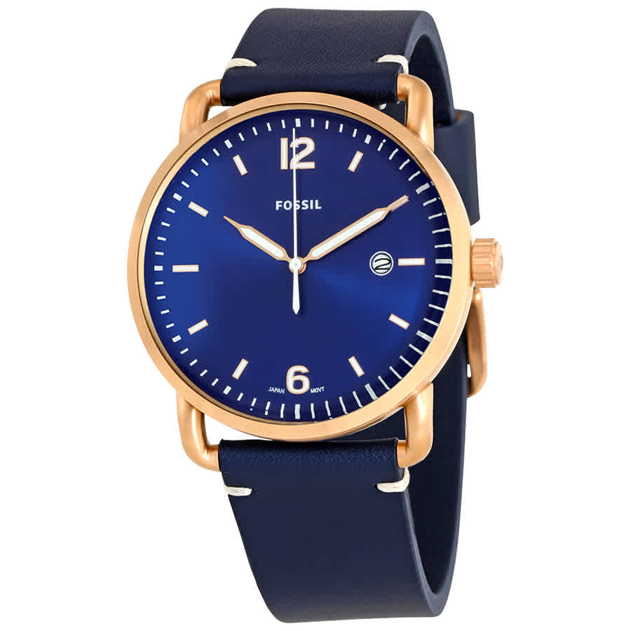 6243cd8d8328 Fossil Commuter Blue Dial Navy Blue Leather Men s Watch FS5274 ...