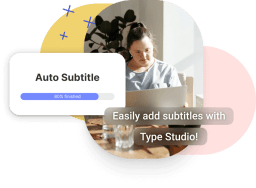 An mockup where a video has subtitles and a modal wich says auto subtitle next to it