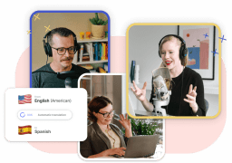 A graphic showing one men and two women. They all have headphones on and a microfone in front of there face. On the left side is a modal showing the possibility to translate subtitles with Type Studio.