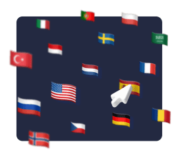A 3d graphic showing multiple flags and a cursor hovering the spanish flag.