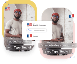 A graphic showing a video thumbnail twice. One with english subtitles, one with french subtitles.