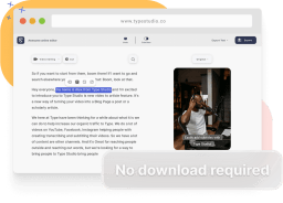 A mockup of the Type Studio editor and a text saying no download required.