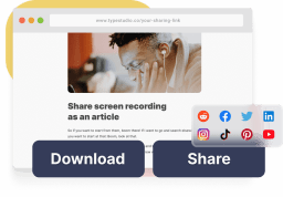 A mockup from the sharing page. Shows that you can download the video from the sharingpage and that you can share the page.