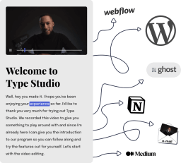 The Type Studio sharing page with arrows to other webpages where you can embed the sharing page.