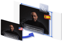 An isometric 3d graphic showing two videos. One with english subtitles and one with spanish subtitles.